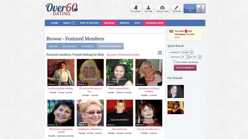 Popular web site for over 60 dating